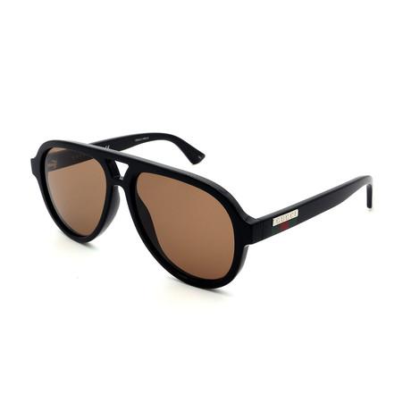 Men's GG0767S-002 Large Sunglasses // Black + Brown