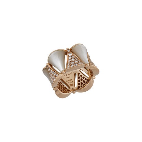 Bulgari 18k Rose Gold Diamond + Mother of Pearl Ring // Ring Size: 5.25 // Pre-Owned