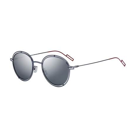 Men's Round Sunglasses // Silver + Silver Mirror