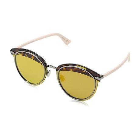Women's Offset Sunglasses // Dark Havana + Light Pink + Brown Orange Mirror