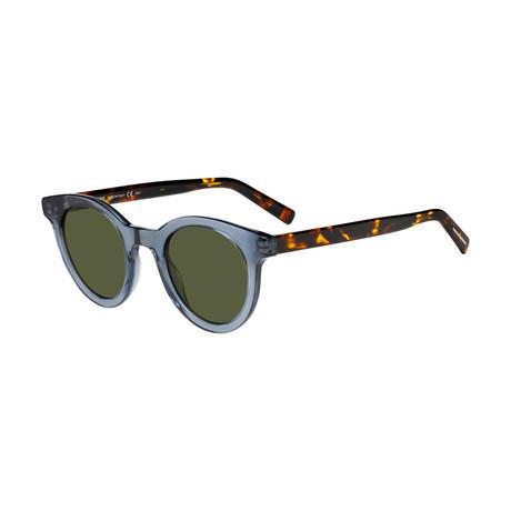 Men's Black Tie Classic Round Sunglasses // Blue Gray + Havana + Green