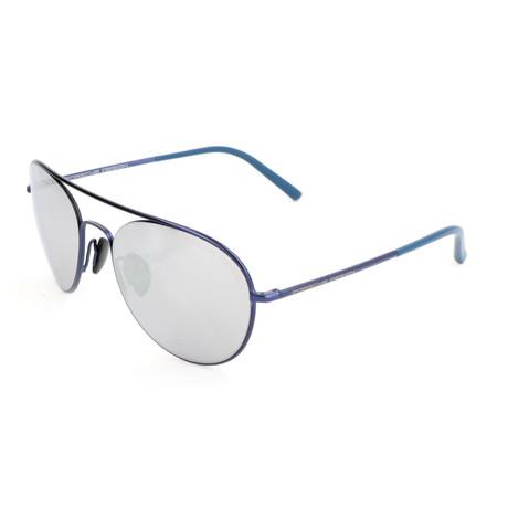 Women's P8606 Sunglasses // Dark Blue + Silver