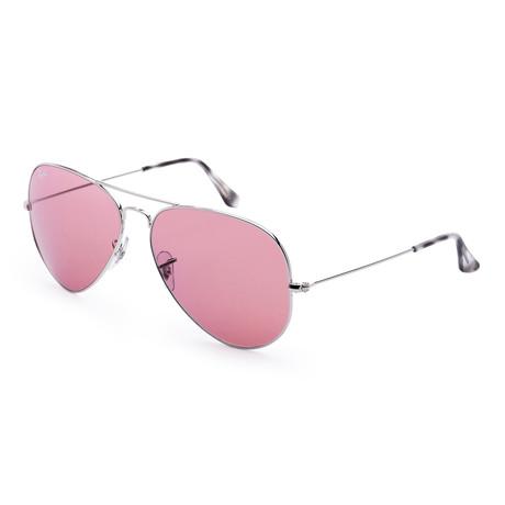 Men's Fashion Sunglasses // Silver + Violet Gradient