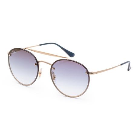 Unisex Blaze Sunglasses // Demi Gloss Gold + Clear Gradient Blue