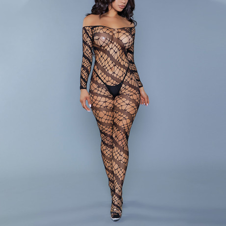 Web of Love Bodystocking // Black (One Size)