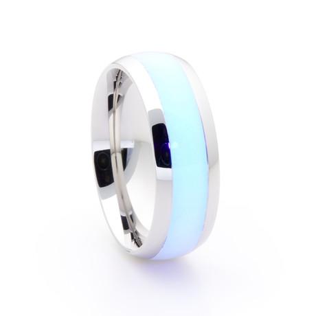 Silver Titanium Ring + Single Glow Inlay // White (Size 5)