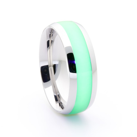 Silver Titanium Ring + Single Glow Inlay // Green (Size 5)