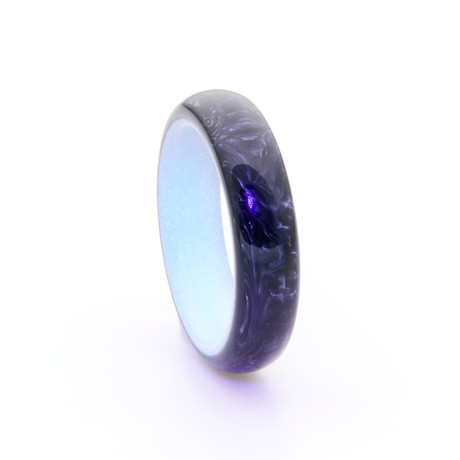Carbon Fiber Ring + Glowing Interior // White (Size 5)