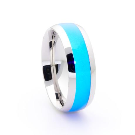 Silver Titanium Ring + Single Glow Inlay // Blue (Size 5)