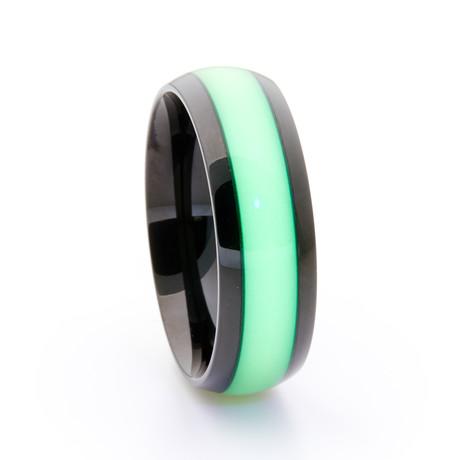 Black Titanium Ring + Single Glow Inlay // Green (Size 5)