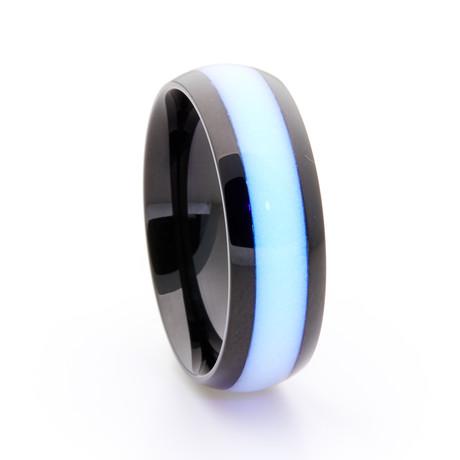 Black Titanium Ring + Single Glow Inlay // White (Size 5)