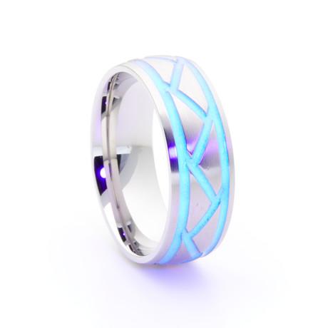 Silver Titanium + Weave Glow Inlay // White (Size 5)