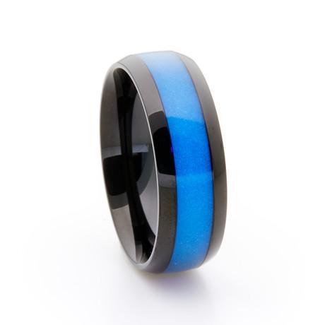 Black Titanium Ring + Single Glow Inlay // Blue (Size 5)
