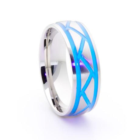 Silver Titanium + Weave Glow Inlay // Blue (Size 5)