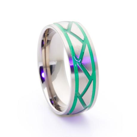 Silver Titanium + Weave Glow Inlay // Green (Size 5)