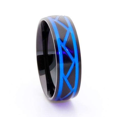 Black Titanium Ring + Weave Glow Inlay // Blue (Size 5)