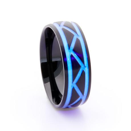 Black Titanium Ring + Weave Glow Inlay // White (Size 5)