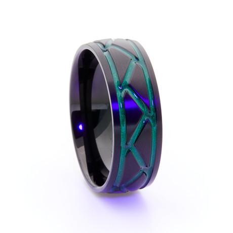 Black Titanium Ring + Weave Glow Inlay // Green (Size 5)