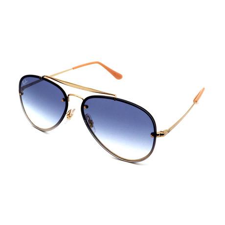 Ray-Ban // Unisex RB3584N-1-19 Blaze Aviator Sunglasses // Gold + Blue Gradient