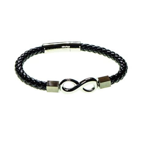 Dell Arte // Infinity Leather Adjustable Bracelet // Black + Silver