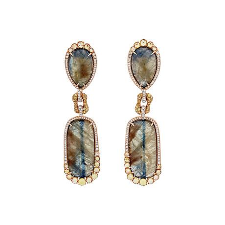 Giovanni Ferraris // 18k Rose Gold Diamond + Sapphire Earrings // Pre-Owned