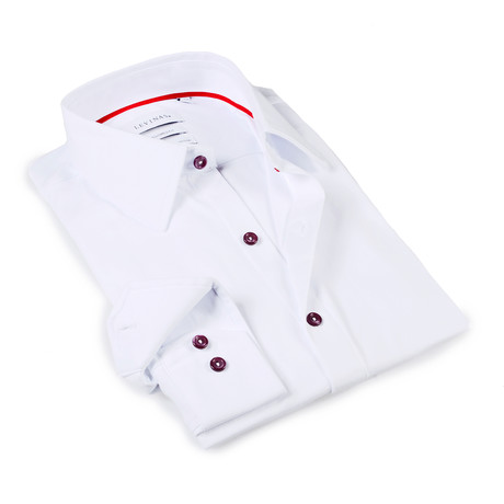 Solid Dress Shirt // 6-Way Stretch // White + Burgundy Buttons (S)