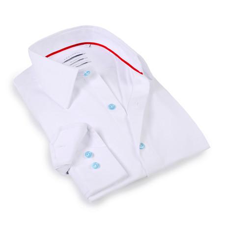 Solid Dress Shirt // 6-Way Stretch // White + Light Blue (S)