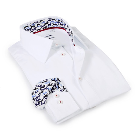 Solid Dress Shirt // 6-Way Stretch // White + Print (S)
