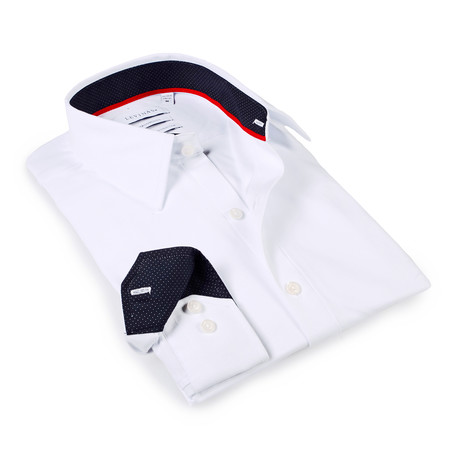 Solid Dress Shirt // 6-Way Stretch // White + Dark Navy (S)