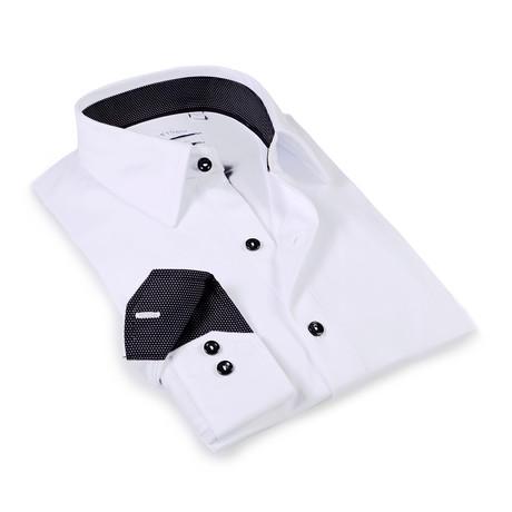Solid Dress Shirt // 6-Way Stretch // White + Black (S)