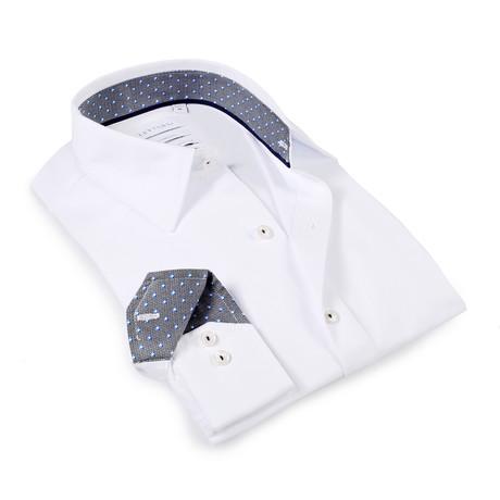 Solid Dress Shirt // 6-Way Stretch // White + Black + Blue (S)