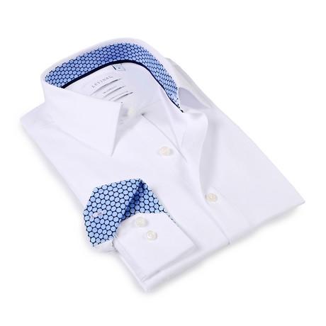 Solid Dress Shirt // 6-Way Stretch // White + Blue (S)