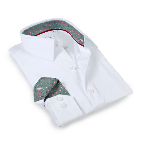 Solid Dress Shirt // 6-Way Stretch // White + Green (S)