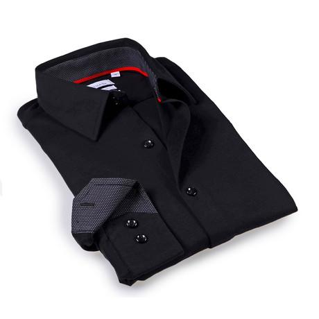 Solid Dress Shirt // 6-Way Stretch // Black + Black (S)