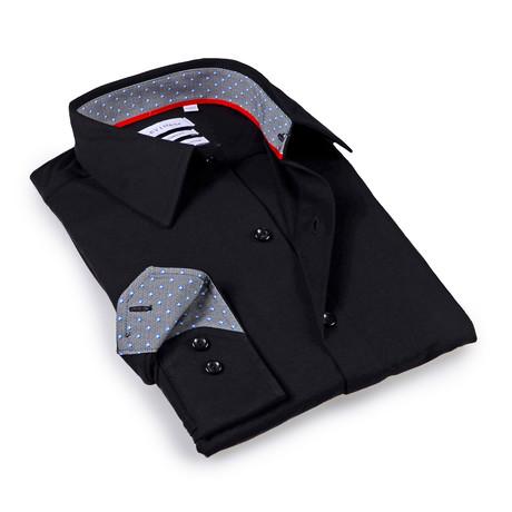 Solid Dress Shirt // 6-Way Stretch // Black + Blue (S)