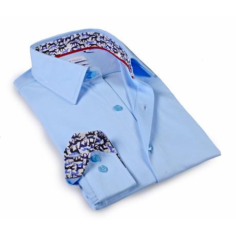 Solid Dress Shirt // 6-Way Stretch // Sky Blue + Print (S)