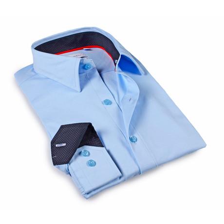 Solid Dress Shirt // 6-Way Stretch // Sky Blue + Dark Navy (S)