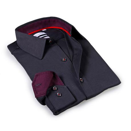 Solid Dress Shirt // 6-Way Stretch // Charcoal + Burgundy (S)