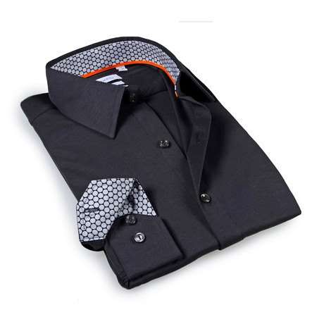 Solid Dress Shirt // 6-Way Stretch // Charcoal + Gray (S)
