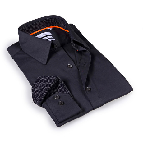 Solid Dress Shirt // 6-Way Stretch // Charcoal + Navy (S)