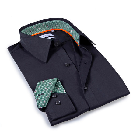 Solid Dress Shirt I // 6-Way Stretch // Charcoal + Green (S)