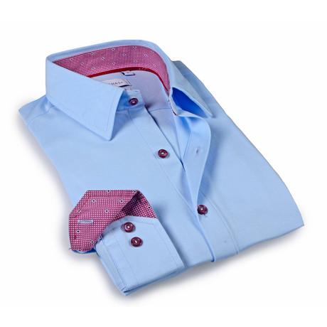 Solid Dress Shirt // 6-Way Stretch // Sky Blue + Burgundy (S)