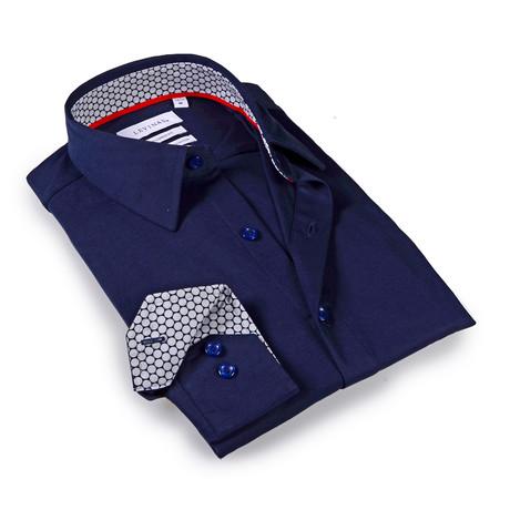 Solid Dress Shirt // 6-Way Stretch // Navy + Gray (S)