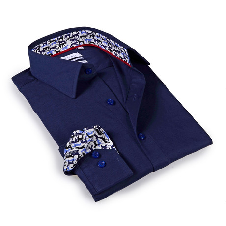 Solid Dress Shirt // 6-Way Stretch // Navy + Print (S)