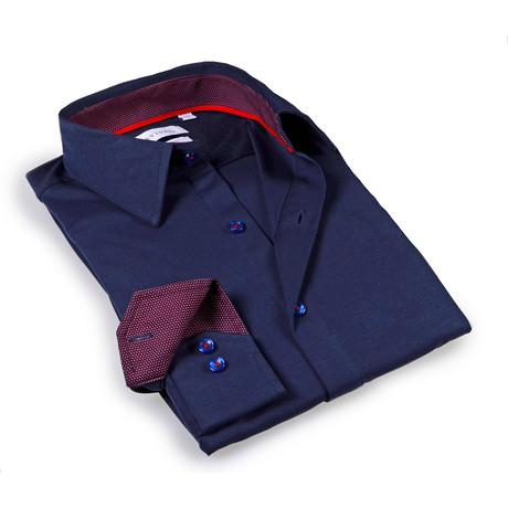 Solid Dress Shirt // 6-Way Stretch // Black + Burgundy (S)