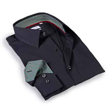 Solid Dress Shirt II // 6-Way Stretch // Charcoal + Green (S)