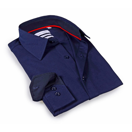 Solid Dress Shirt // 6-Way Stretch // Navy + Navy (S)