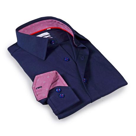 Solid Dress Shirt // 6-Way Stretch // Navy + Burgundy (S)
