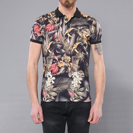 Tropical Floral Printed Polo Shirt // Oxford Blue (XL)