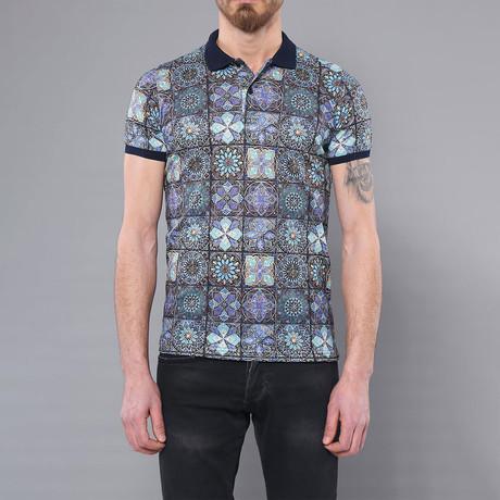 Mosaic Printed Polo Shirt // Light Blue (M)